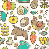 Seamless pattern with outlined food signs. (cereals, fruits, meat, vegetables, milk, eggs, fish, honey) in creative ethnic style. Happy babyish color palette vector illustration