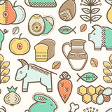 Seamless pattern with outlined food signs. Cereals, fruits, meat, vegetables, milk, eggs, fish, honey in creative ethnic style. Happy babyish color palette vector illustration