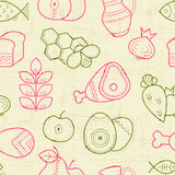Seamless pattern with outlined food signs. (cereals, fruits, meat, vegetables, milk, eggs, fish, honey) in creative ethnic style. Spring color palette (pink Stock Images