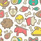 Seamless pattern with outlined food signs. (protein food signs - pork meat, veal, mutton, rabbit, eggs, fish) in creative ethnic style. Happy babyish color vector illustration