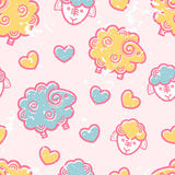 Seamless pattern with outlined food signs. Seamless pattern with outlined sheep in cute childish style. Happy babyish color palette (pale pink, blue and yellow vector illustration