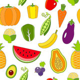 Seamless pattern with outlined fruits and vegetables Stock Images