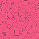 Seamless Pattern with Outlined School Items Royalty Free Stock Photo