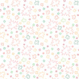 Seamless pattern with outlines of autumn leaves Stock Photo