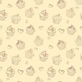 Seamless pattern of outlines delicious Christmas cupcakes stock image