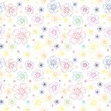 Seamless pattern with outlines of flowers Royalty Free Stock Photos