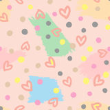 Seamless pattern with outlines of hearts, circles and brushstrokes. Cute seamless pattern Royalty Free Stock Image