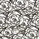 Seamless pattern from outlines of roses. Illustrationn Stock Images