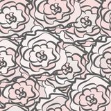 Seamless pattern from outlines of roses. Seamless pattern from the outlines of roses on a colored background Stock Images
