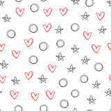 Seamless pattern with outlines of stars, hearts and circles. Repeating black and red shapes on a white background. Sketch, doodle, drawn by hand. Vector Royalty Free Stock Photos