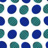 Seamless pattern of ovals with blue, blue and black dots Stock Images
