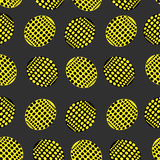 Seamless pattern of ovals point in yellow and black color Royalty Free Stock Images