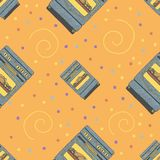 Seamless pattern with ovens, confetti and curls. stock illustration