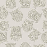 Seamless pattern with owl Royalty Free Stock Photo