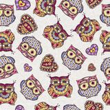Seamless pattern with owl Stock Photos