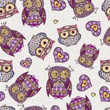 Seamless pattern with owl Royalty Free Stock Photos