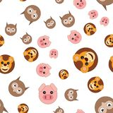Seamless pattern of owl head of lion and pig vector illustration