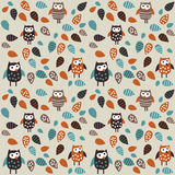 Seamless pattern owl and leaves Royalty Free Stock Images