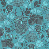 Seamless pattern with owl and photo camera. Stock Photo