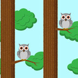 Seamless pattern with owls Royalty Free Stock Photography