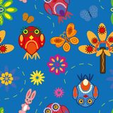 Seamless pattern with owls Royalty Free Stock Photos