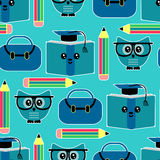Seamless pattern with owls Stock Photography