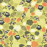Seamless pattern with owls. Stock Photography