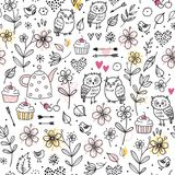 Seamless pattern with owls, flowers, cupcakes, arrows, cherries, hearts. Funny vector illustration. Hand drawn elements. vector illustration