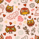 Seamless pattern with owls Royalty Free Stock Images