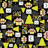 Seamless pattern with owls. Stock Image
