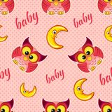 Seamless pattern with owls and moons for children Royalty Free Stock Photos