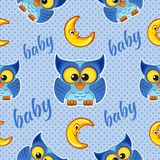 Seamless pattern with owls and moons Stock Photos