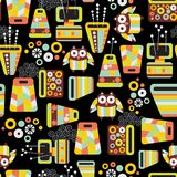 Seamless pattern with owls and vases. Royalty Free Stock Photos