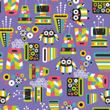 Seamless pattern with owls and vases. Royalty Free Stock Photo