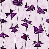 Seamless pattern with oxalis triangularis leaves. Seamless pattern with oxalis triangularis violet leaves in hand drawn style on light background Royalty Free Stock Photos