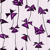 Seamless pattern with oxalis triangularis leaves. Seamless pattern with oxalis triangularis violet leaves in hand drawn style on light background Stock Photos