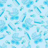 Seamless pattern from pacifier, pram and baby bottle. On a blue background royalty free illustration