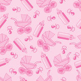 Seamless pattern from pacifier, pram and baby bottle Stock Photography