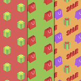 Seamless pattern with packages and gifts. Stock Photos