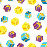 Seamless pattern with packages, gifts. Royalty Free Stock Photos