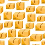 Seamless pattern of packing boxes. Delivery packages illustration Stock Photos