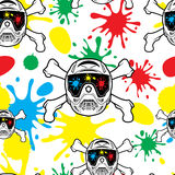 Seamless pattern paintball. Spray paint and helmets. Stock Photo