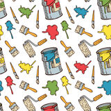 Seamless Pattern with Paintbrushes and Paint. Seamless Vector Pattern with a Multicolored Paint Stains, Paintbrushes, Roller Brushes and Paint Cans on a White Stock Photos