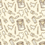 Seamless Pattern . Paintbrushes, Roller Brushes, Paint Stains and Tin Cans Stock Images