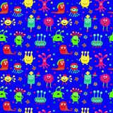 Seamless pattern with painted cute monsters and stars. Seamless pattern with a painted cute monsters and stars Stock Images