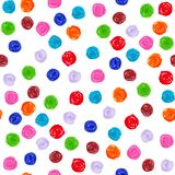 Seamless pattern with a painted felt-tip pen bright multicolored polka dots stock images