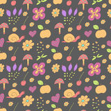 Seamless pattern with painted flowers, snails Royalty Free Stock Images