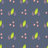 Seamless pattern with painted leaves. On a dark background stock illustration