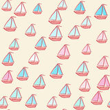 Seamless pattern of painted ships. Summer pattern background. Vacation poster. Bright ships on seamless background for summer design. Can be use for greeting Stock Photos