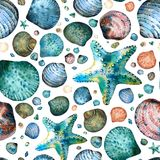 Seamless pattern painted in watercolor with seashells and starfish. On a white background. In an abstract style Stock Photo